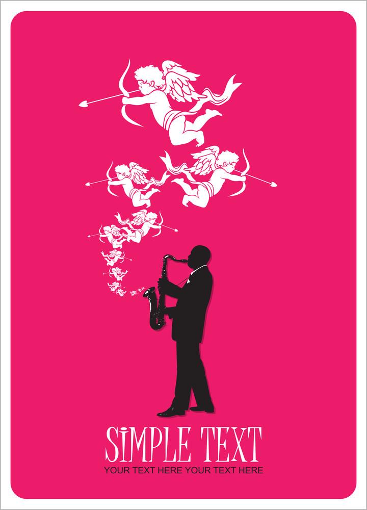 Jazzman With Cupids. Vector Illustration.
