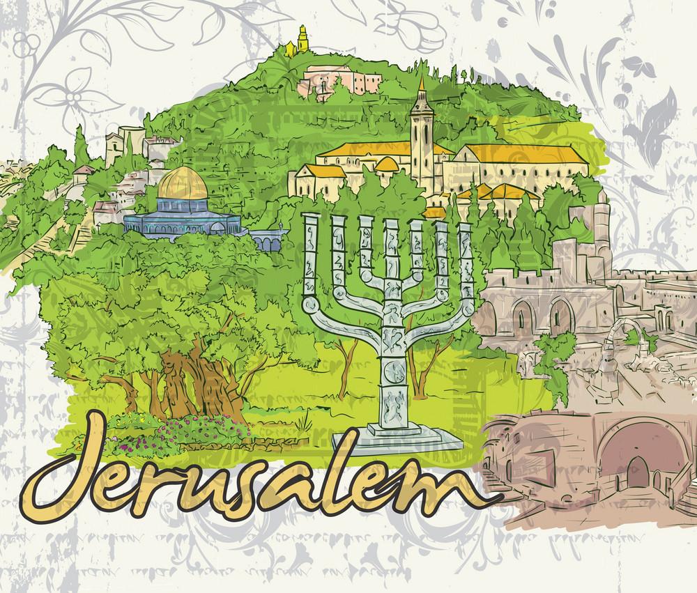 Jerusalem Doodles Vector Illustration