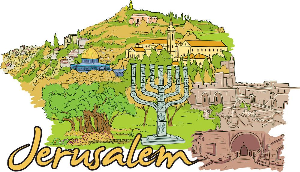 Jerusalem Vector Doodle
