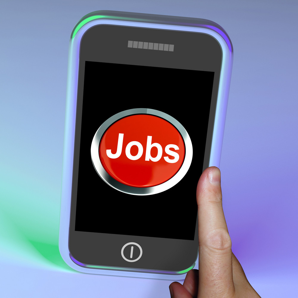Jobs Computer Button On Mobile Shows Work And Careers
