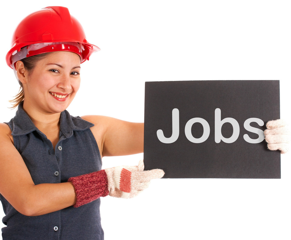 Jobs Sign With Construction Worker Showing Careers