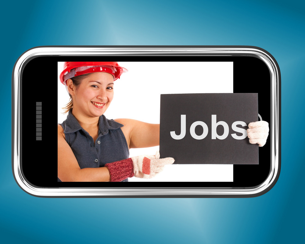 Jobs Sign With Construction Worker Shows Careers Online