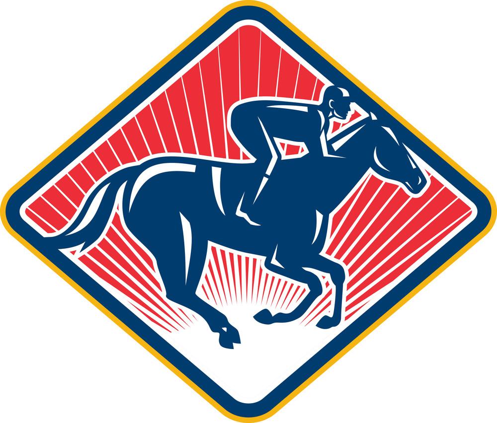 Jockey Horse Racing Side Retro