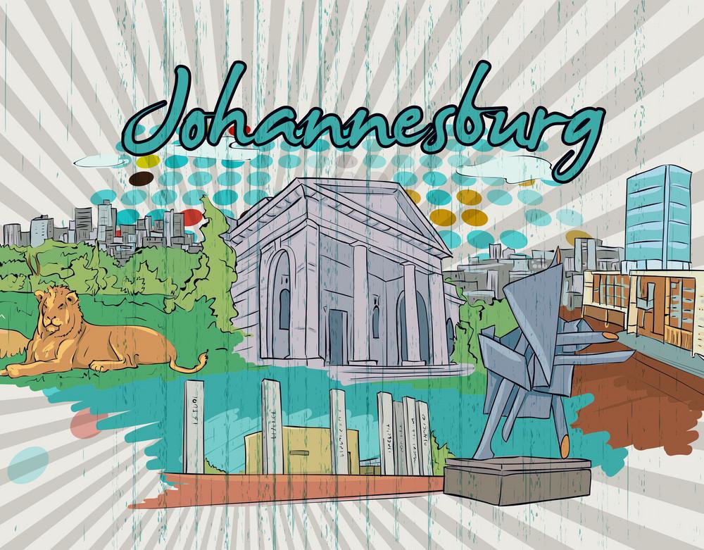 Johannesburg Doodles Vector Illustration