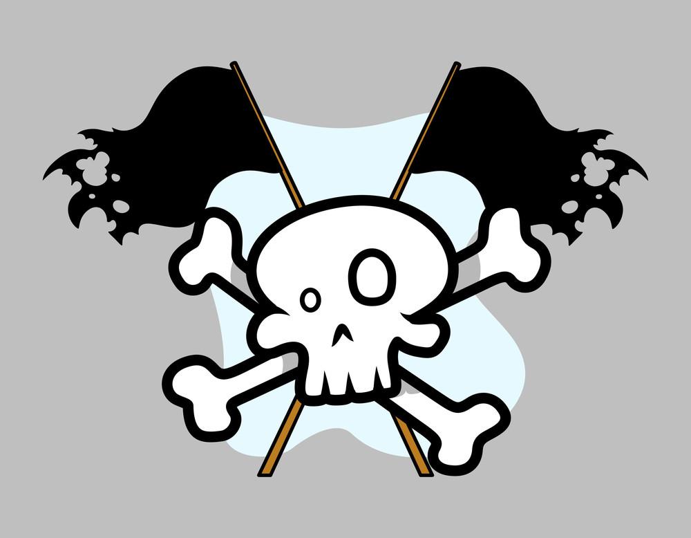 Jolly Roger Crossed Flag - Vector Cartoon Illustration