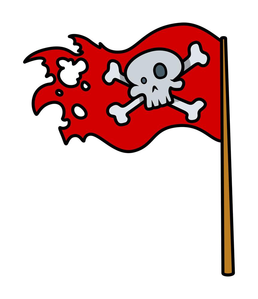 Jolly Roger Red Flag - Vector Cartoon Illustration