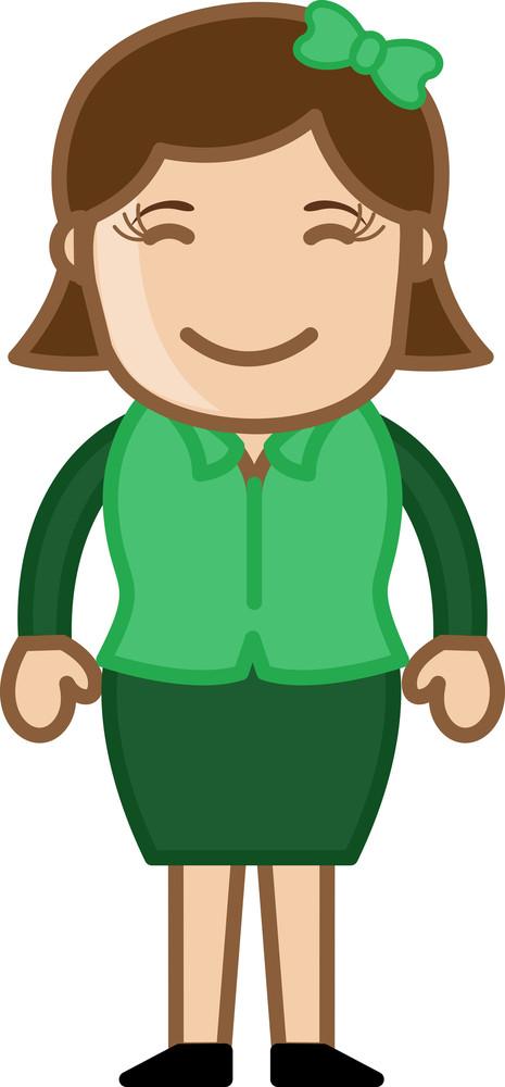 Joyful Woman - Business Cartoon Character Vector