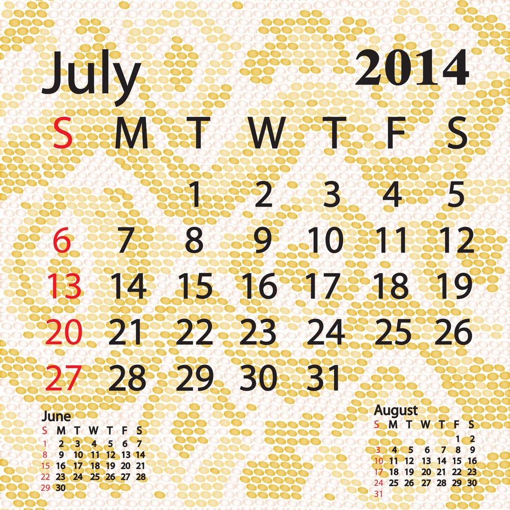 July 2014 Calendar Albino Snake Skin