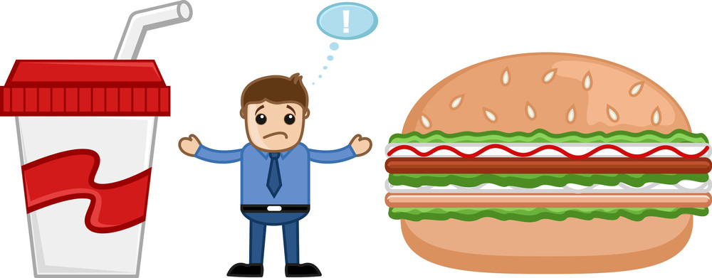 Junk Food - Cartoon Man Standing In Between Burger And Cold Drink