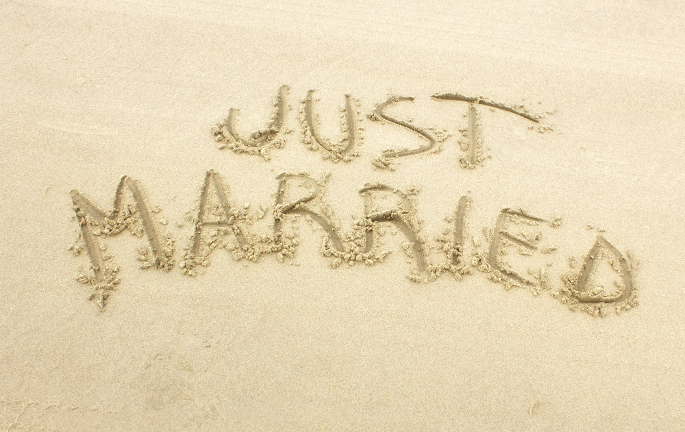 Just Married San Writting