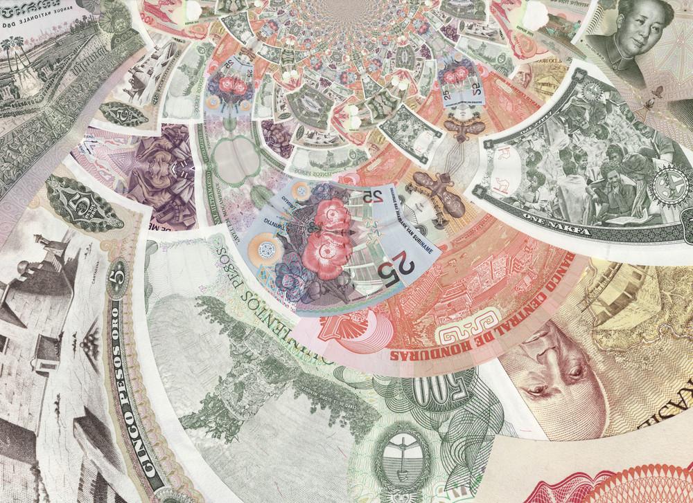 Kaleidoscopic Banknotes Collage