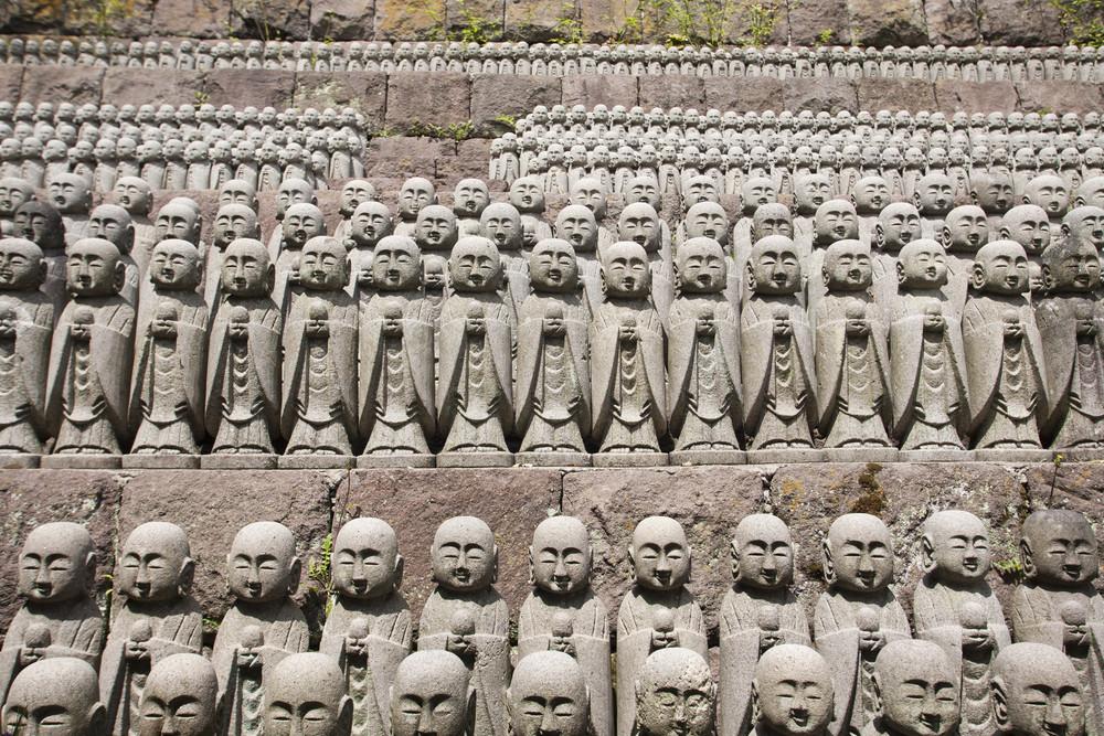 KAMAKURA - APRIL 13 : Buddha sculptures at Hase Kannon Temple on April 13, 2012 in Kamakura, Kanagawa, Japan
