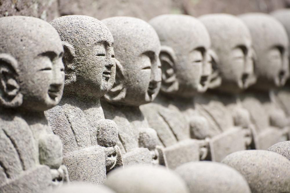KAMAKURA - APRIL 13 : Close up buddha sculptures at Hase Kannon Temple on April 13, 2012 in Kamakura, Kanagawa, Japan