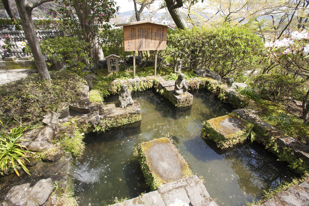KAMAKURA - APRIL 13 : Japanese garden at Hase Kannon Temple on April 13, 2012 in Kamakura, Kanagawa, Japan