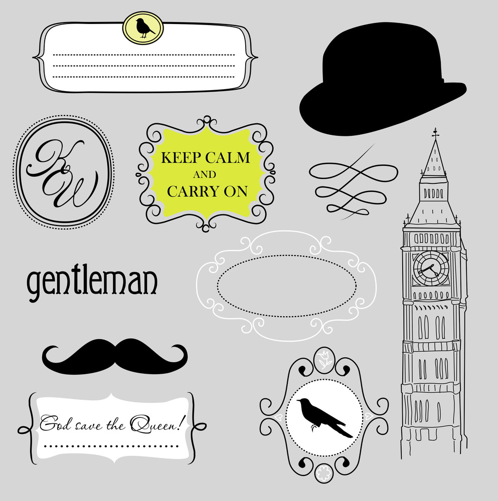 Keep Calm And Carry On. Doodle Frames In British Style