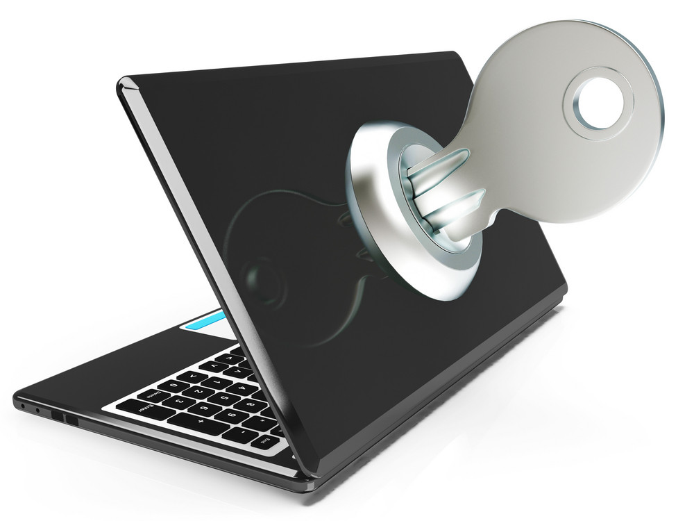Key On Computer Shows Secured Password Or Unlocking