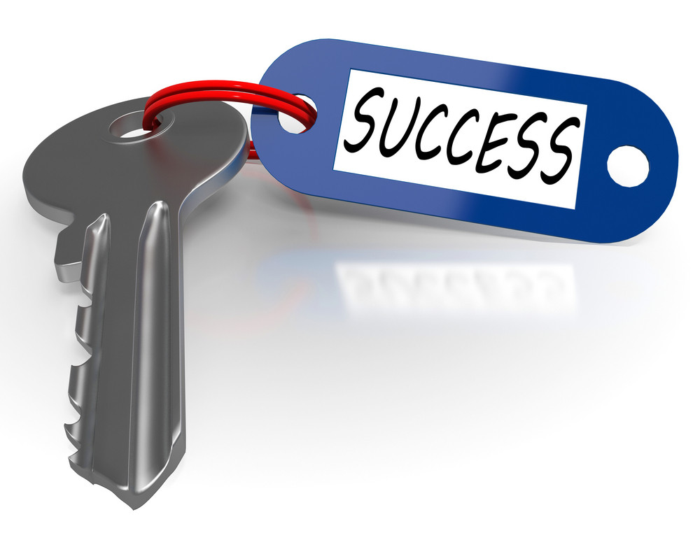 Key With Success Word Shows Winning