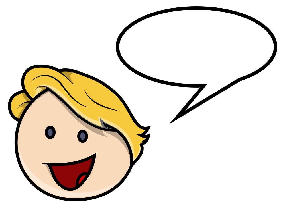Kid Boy With Speech Bubble - Vector Cartoon Illustration