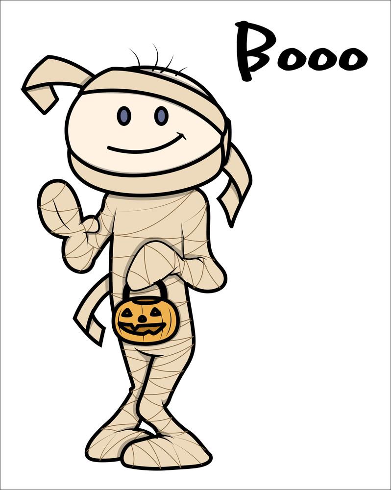 Kid - Halloween - Mummy Dress - Vector Cartoon Illustration