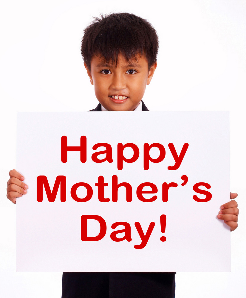 Kid Holding Happy Mother's Day Sign
