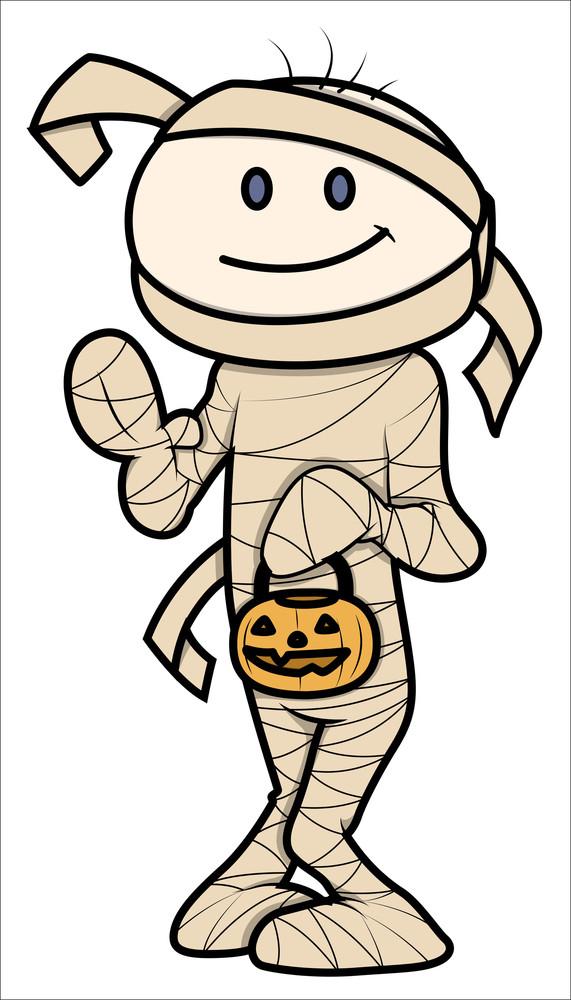 Kid In Halloween Costume - Vector Cartoon Illustration
