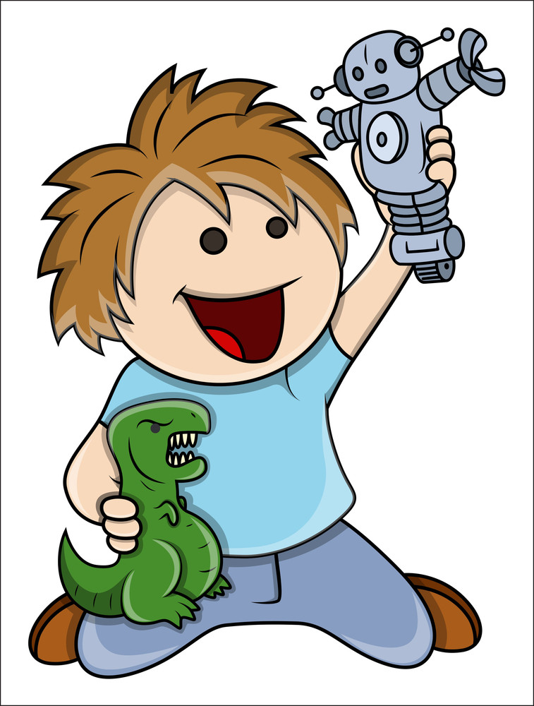 Kid Playing With Toys - Vector Cartoon Illustration