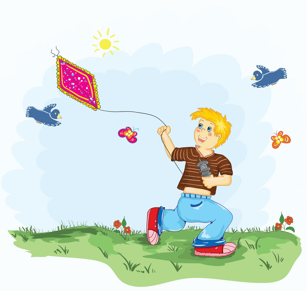Kid With A Kite Vector Illustration