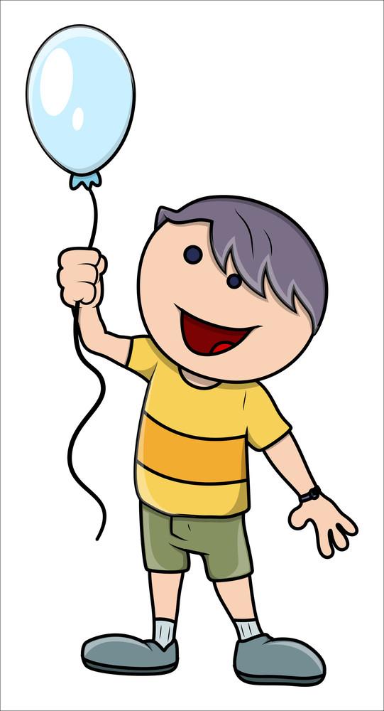 Kid With Balloon - Vector Cartoon Illustration
