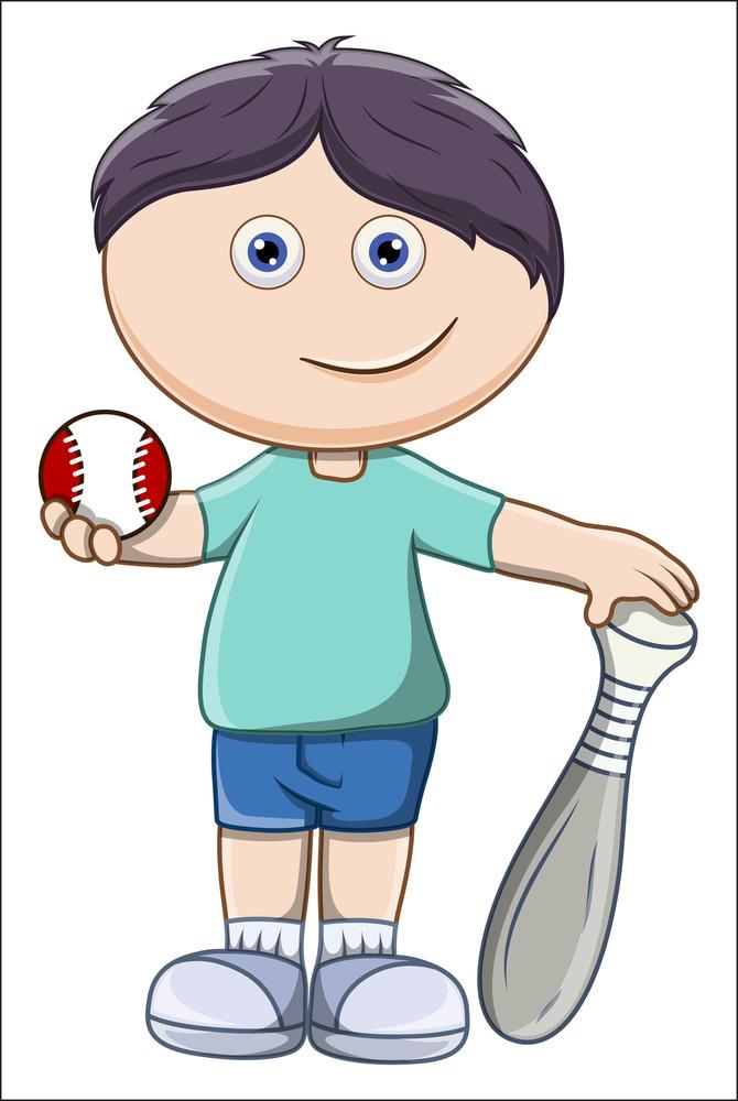 Kid With Baseball And Bat - Vector Cartoon Illustration