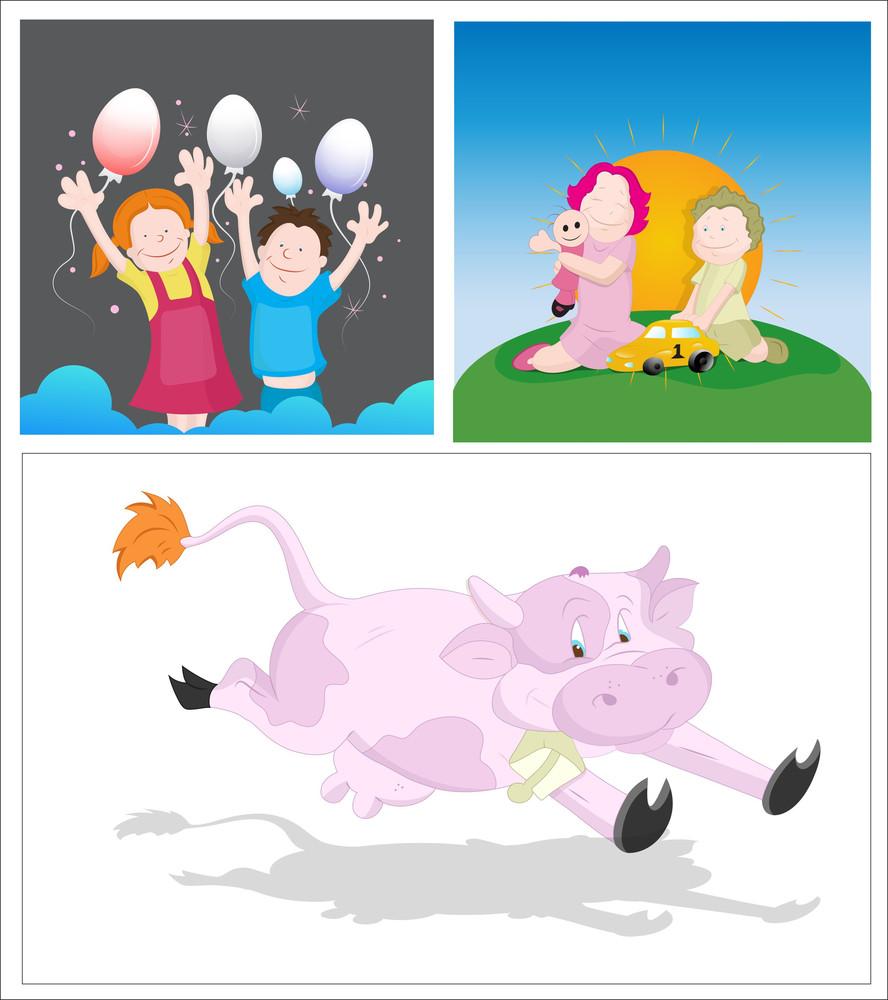 Kids And Cow Vectors