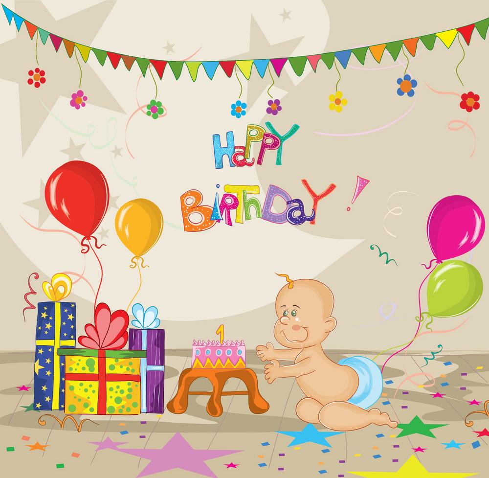 Kids Birthday Party Vector Illustration