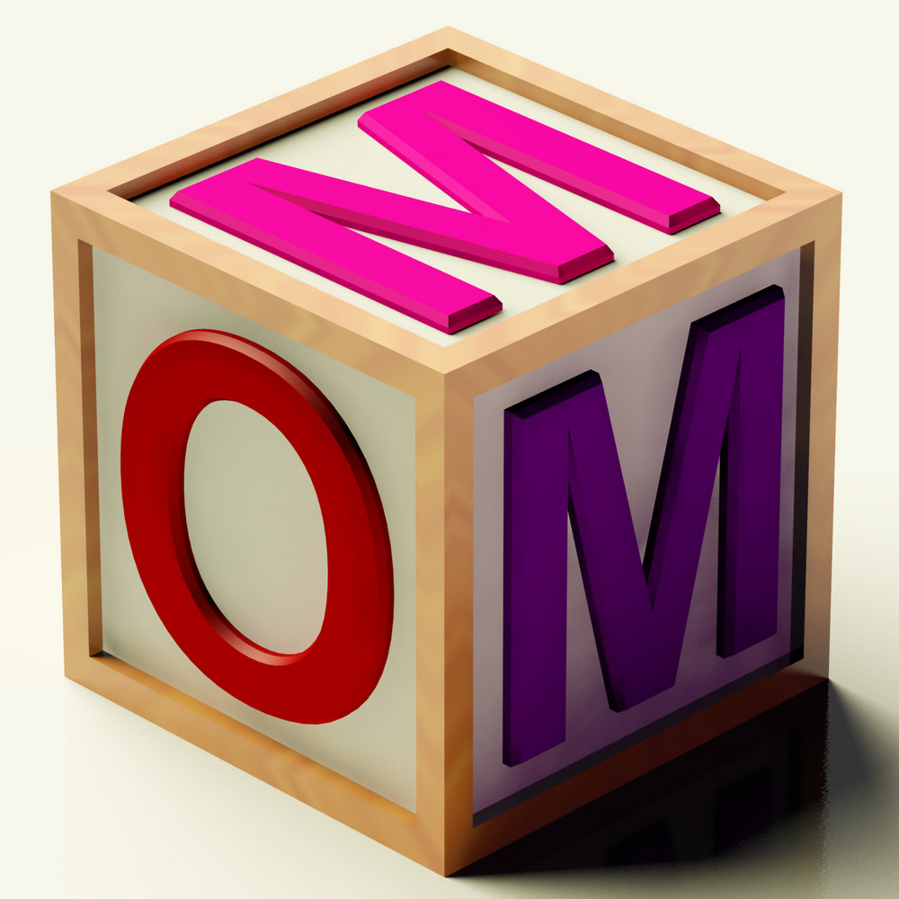 Kids Block Spelling Mom As Symbol For Motherhood And Parenting