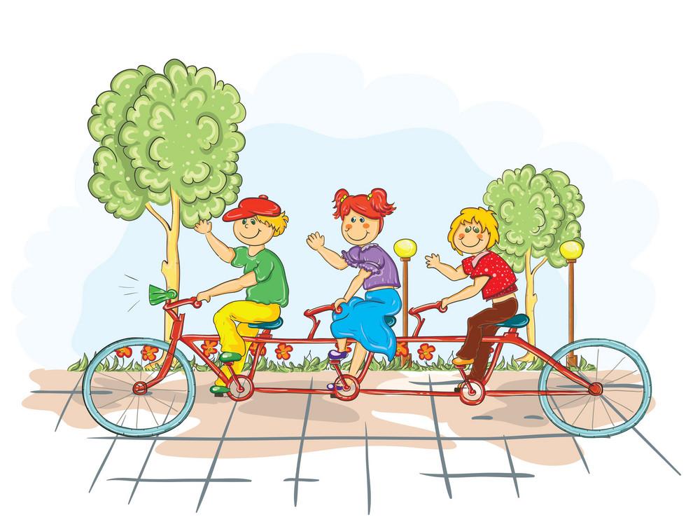 Kids On A Bike Vector Illustration