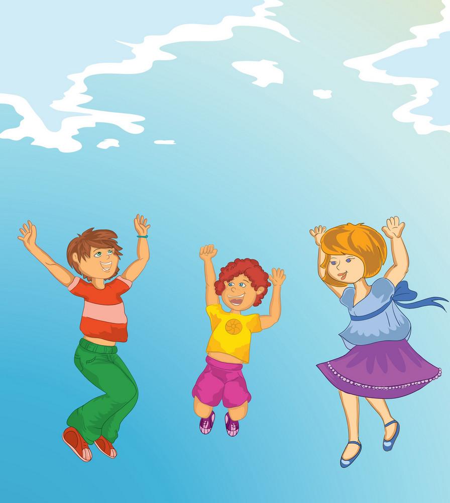 Kids Playing Vector Illustration