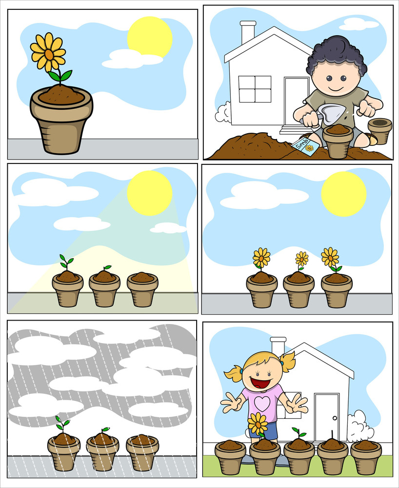 Kids Vector Illustration - Planting And Gardening - In Cartoon Style