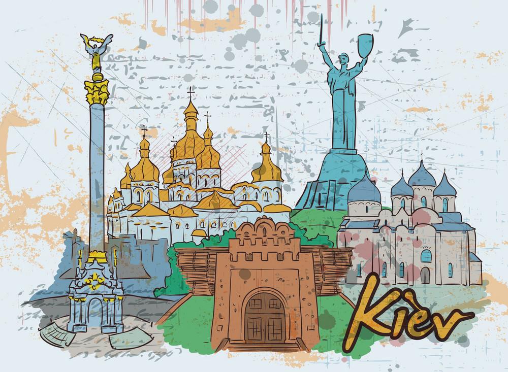 Kiev Doodles Vector Illustration