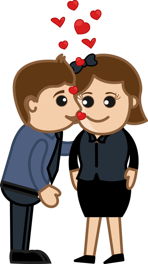 Kissing A Lady In Office Vector