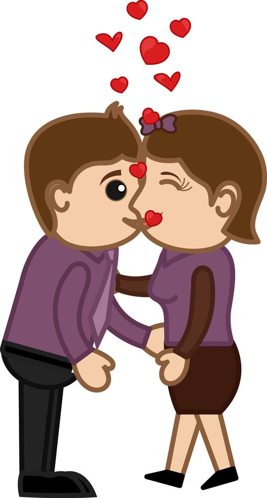 Kissing Man And Woman - Cartoon Characters