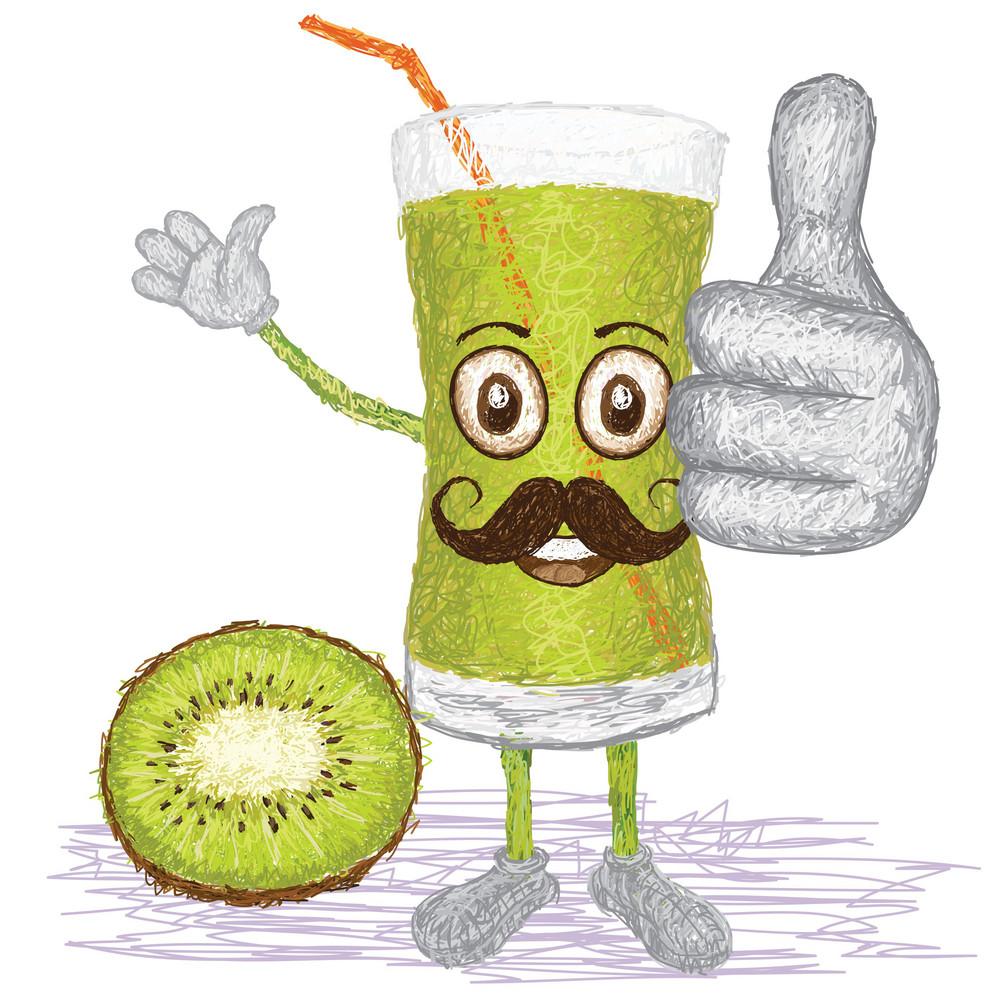 Kiwi Fruit Juice Mustache
