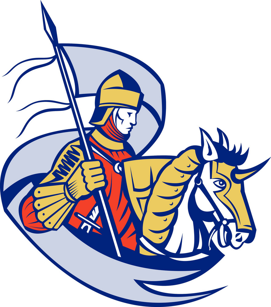 Knight With Flag Shield Horse Retro