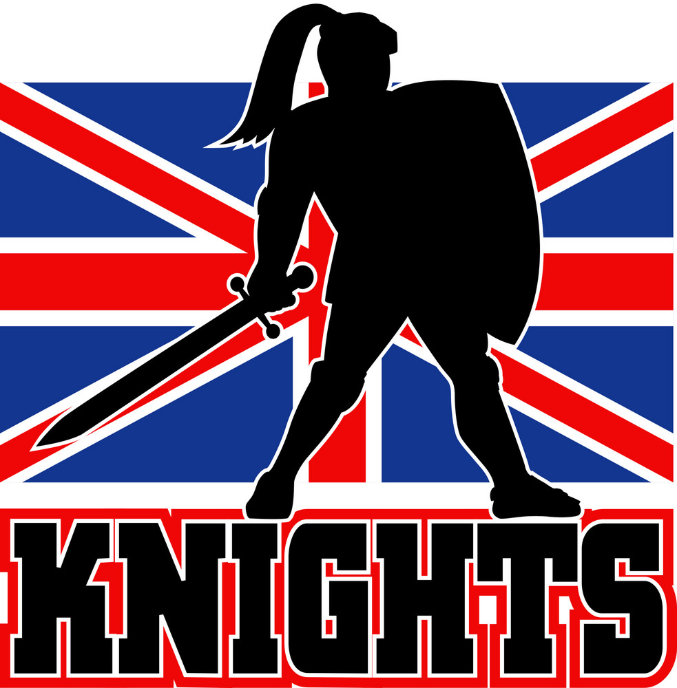 Knight With Sword Shield Gb British Flag
