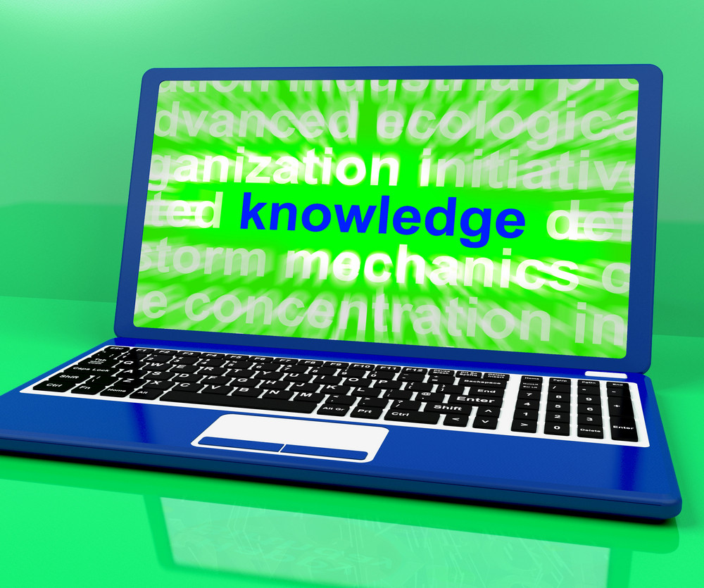 Knowledge Word On Laptop Showing Wisdom And Learning