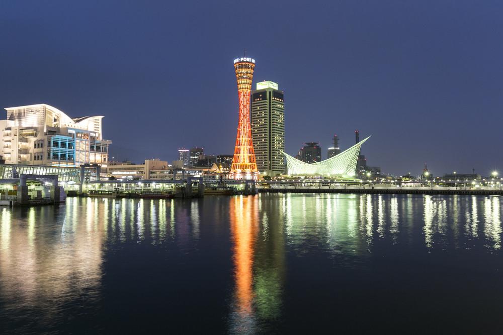 Kobe port tower at night