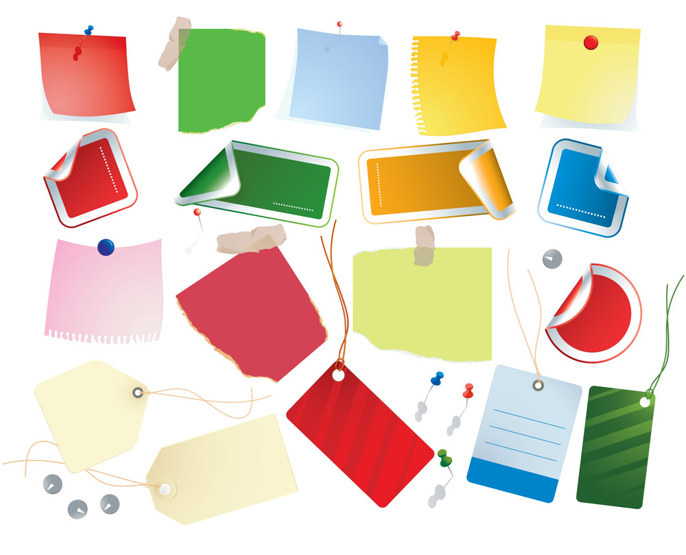 Lables And Tags. Four Color Set. Vector.