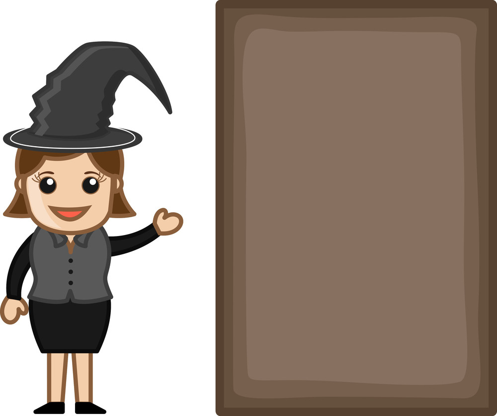 Lady In Witch Costume - Business Cartoon Characters