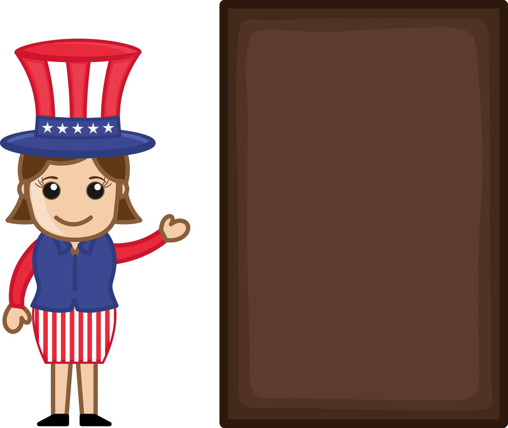 Lady On 4th Of July - Business Cartoon Characters