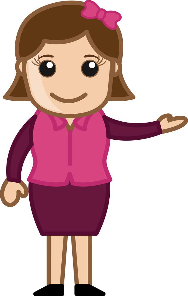 Lady Presenter - Office Corporate Cartoon People