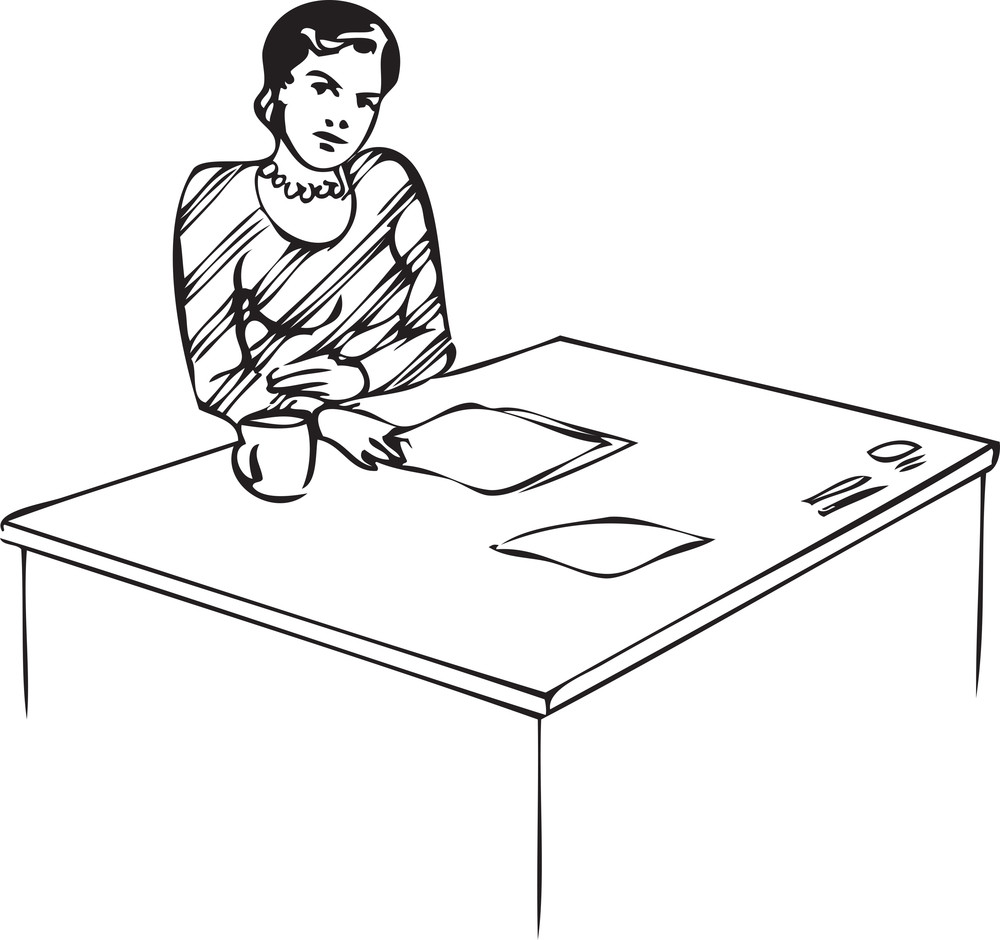 Lady Sitting On Chair With Mug And Paper
