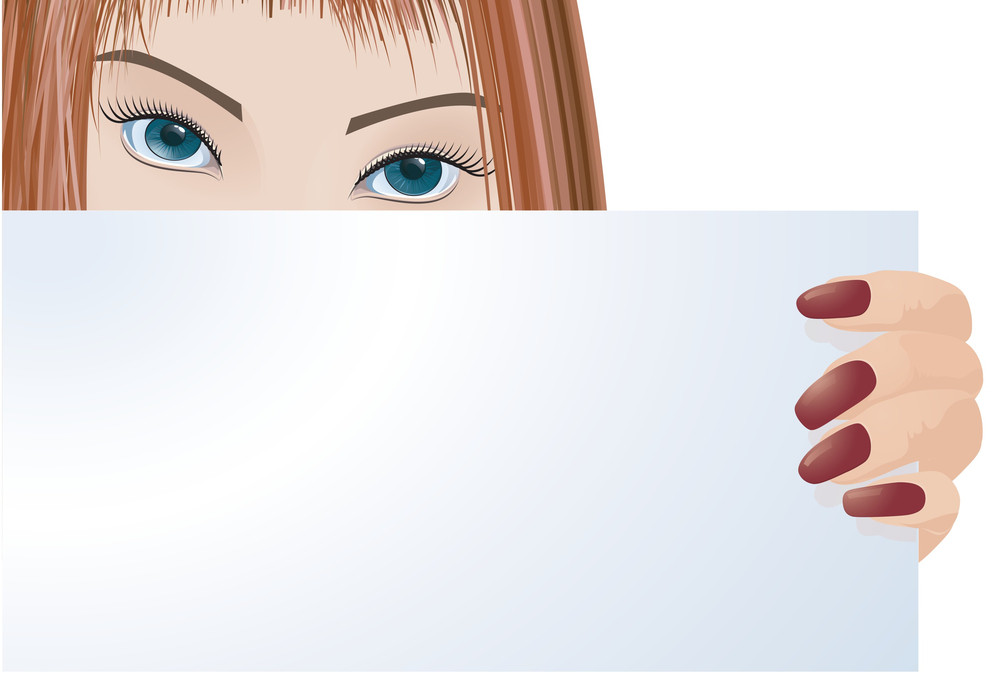 Lady With Blank Board. Vector Template.