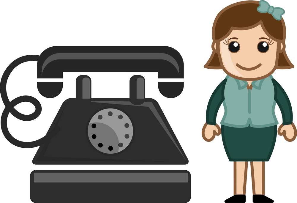 Lady With Old Retro Phone Instrument - Business Cartoons Vectors